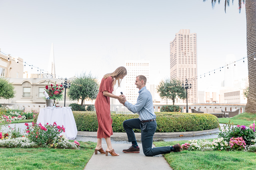 San Francisco Fairmont rooftop garden private surprise proposal