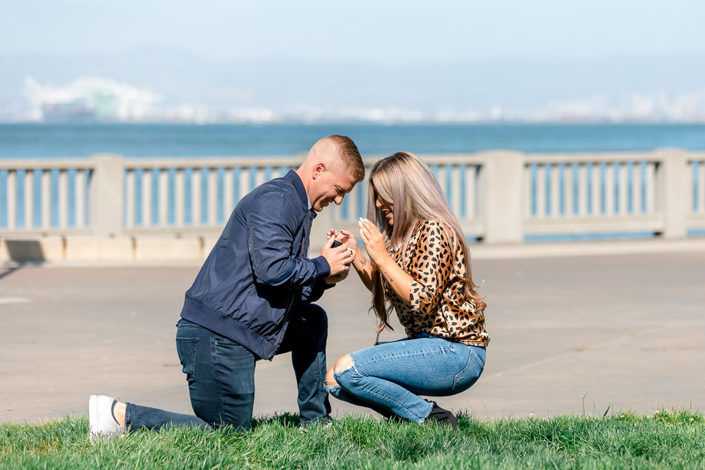 precious reaction during a San Francisco surprise marriage proposal