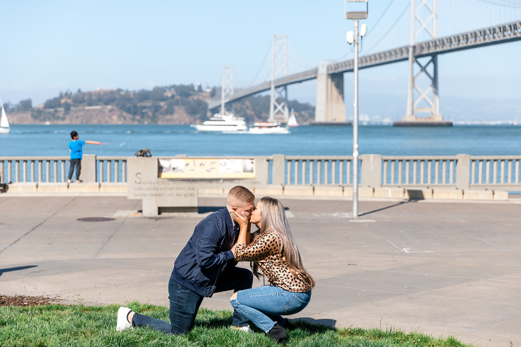 surprise engagement happened in front of the Bay Bridge