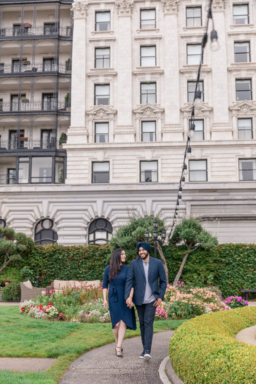 couple walking in the iconic hotel in San Francisco