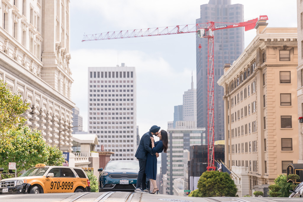 engagement photo on California street in San Francisco