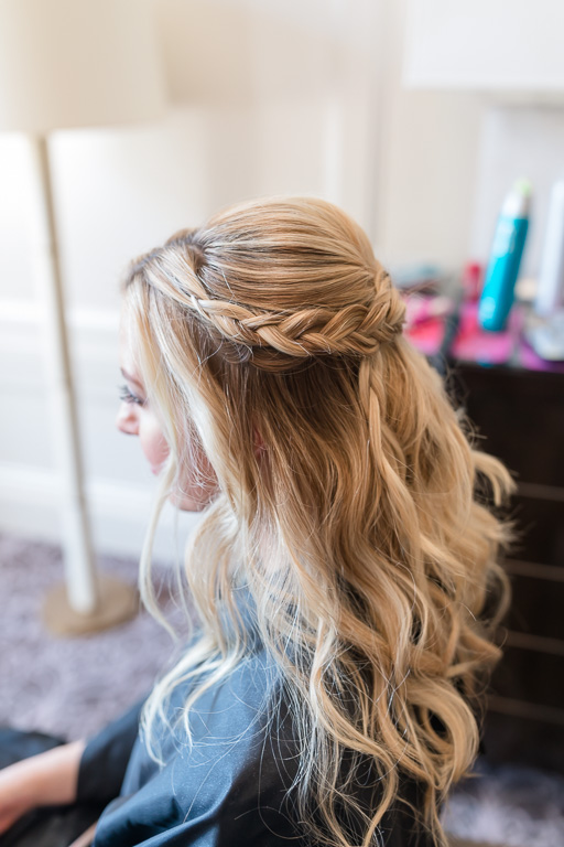 a romantic down do for bridesmaid