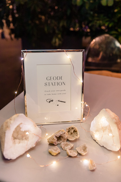 geode station at the wedding reception for guests to enjoy