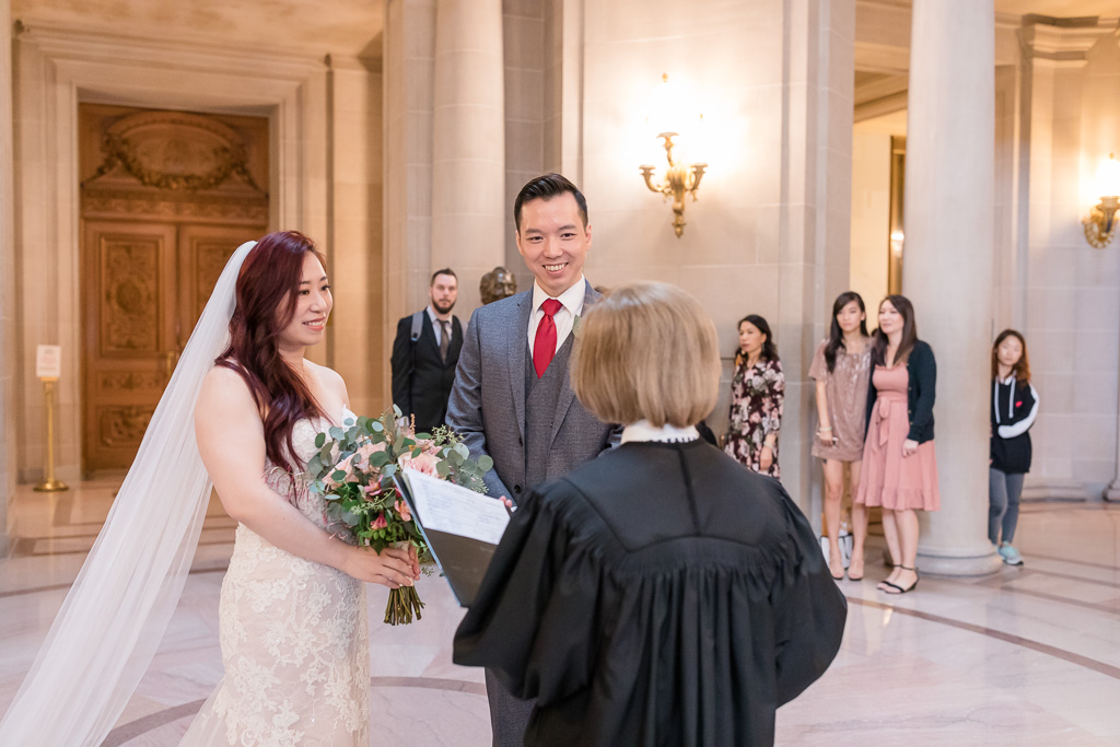 civil ceremony witnessed by close friends and family