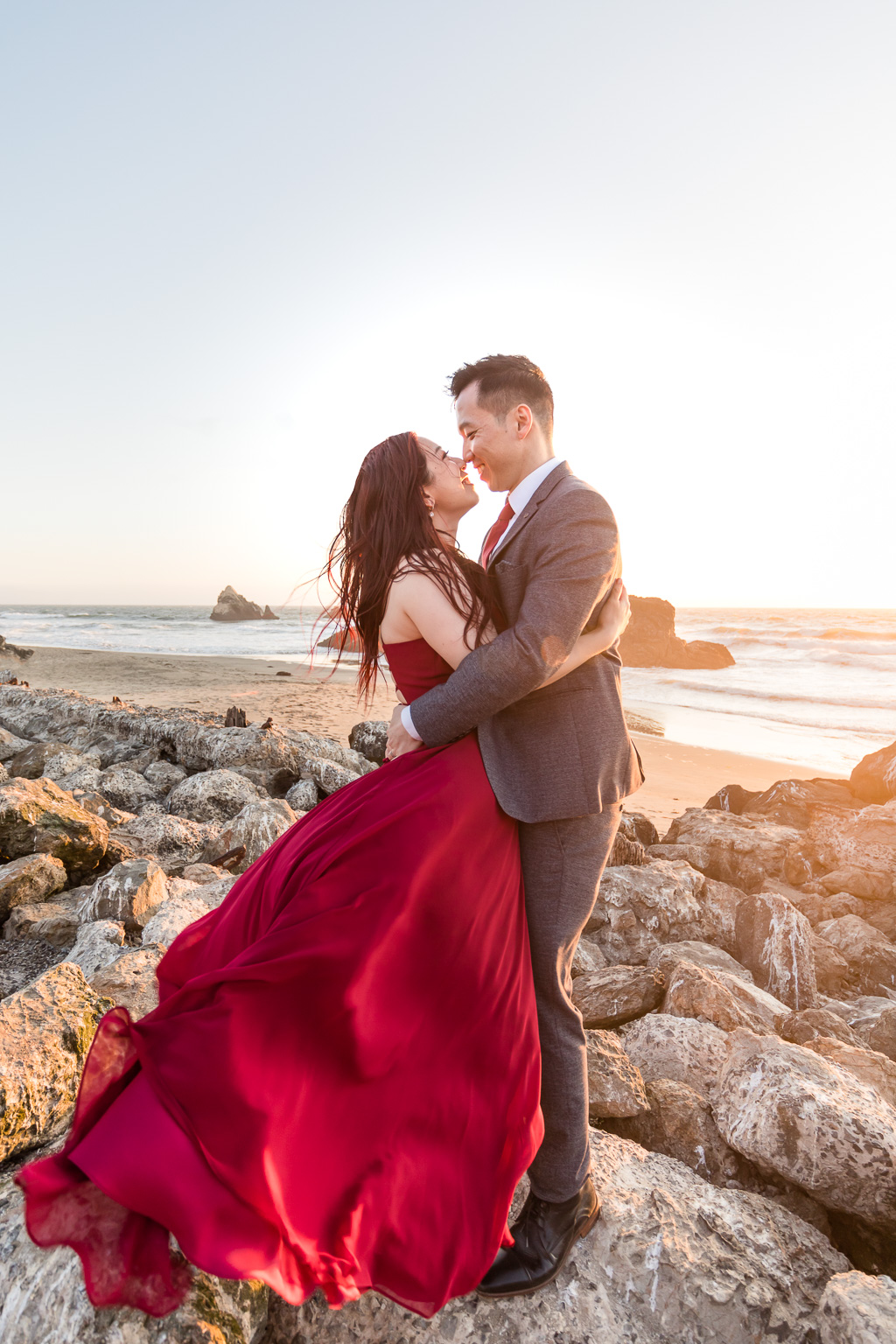 sunset engagement portrait at Sutro Baths the most iconic location for couple photos