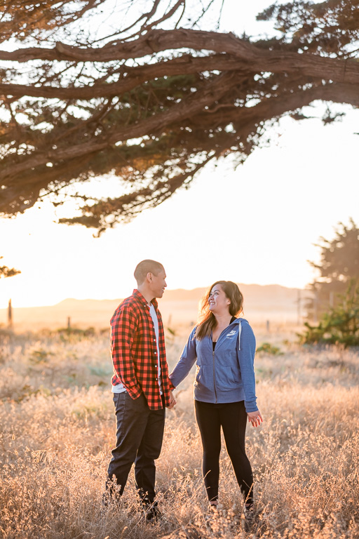 Point Reyes Cypress Tree Tunnel engagement photo at sunset