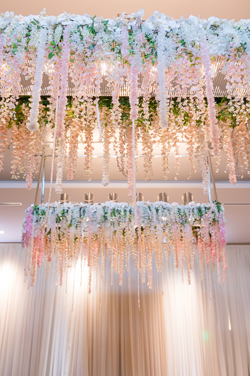 flowers draping from the ceiling - Menlo Park wedding