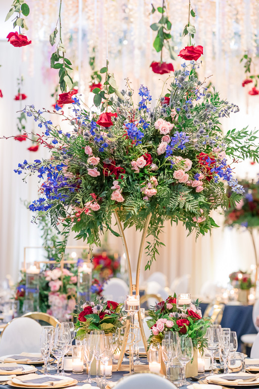 exquisite tall centerpiece for this modern wedding in the Bay Area