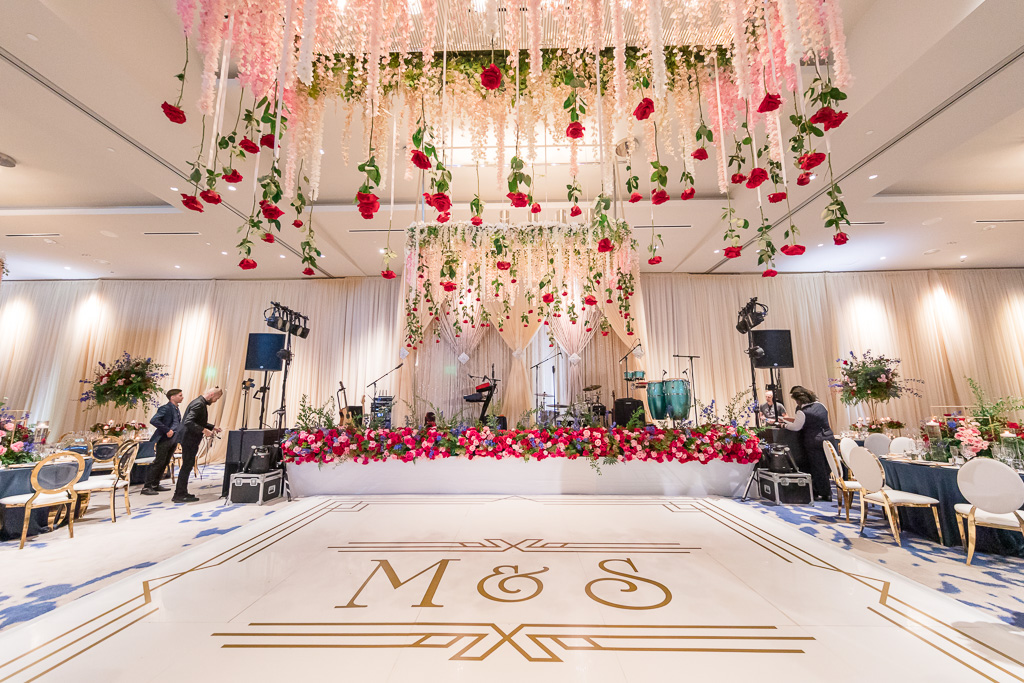 dance floor decorated with lots of flowers