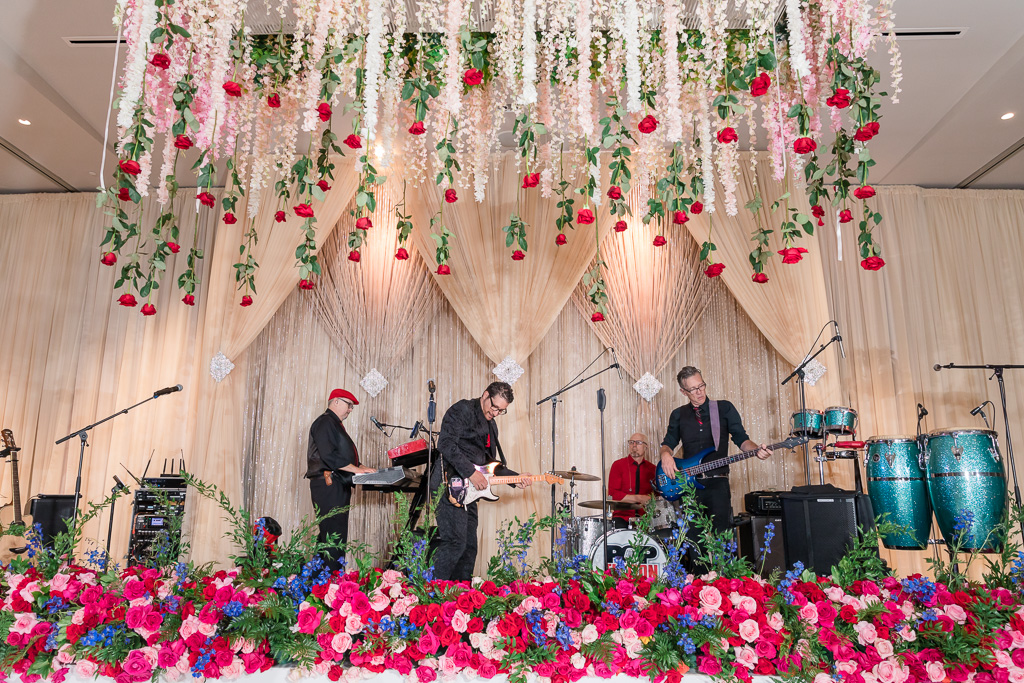 wedding stage area with the band playing