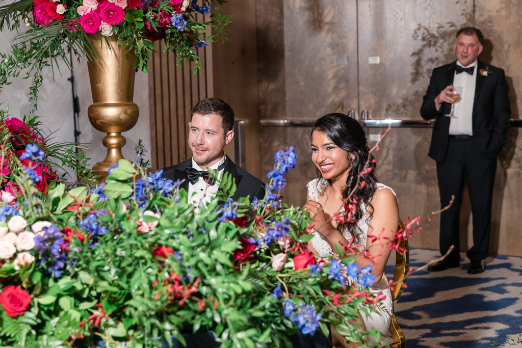 newlyweds were given a speech by their loved ones