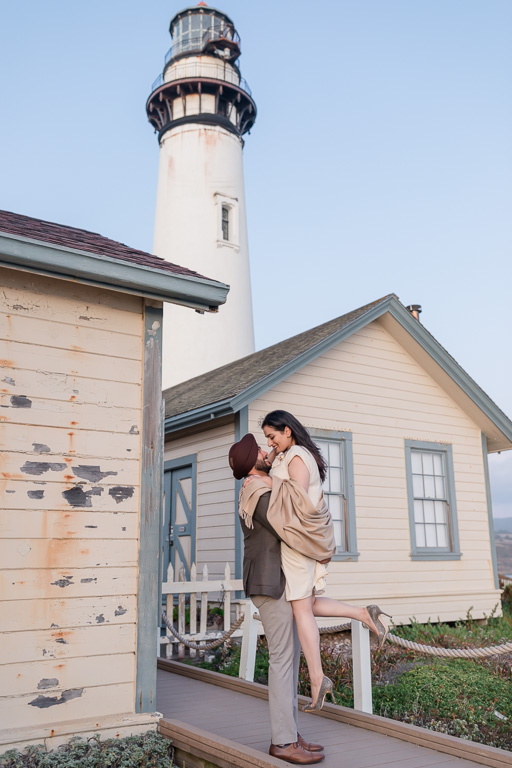 Pacific Coast Highway lighthouse engagement photo