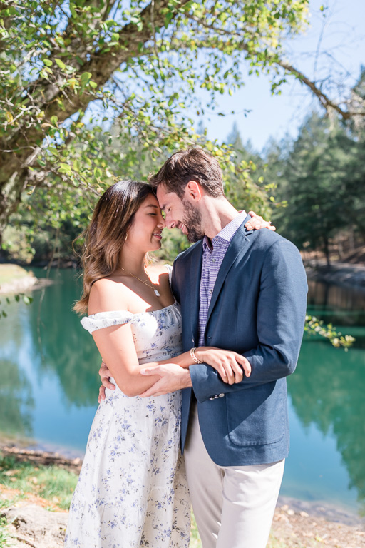 Calistoga engagement photo by the pond