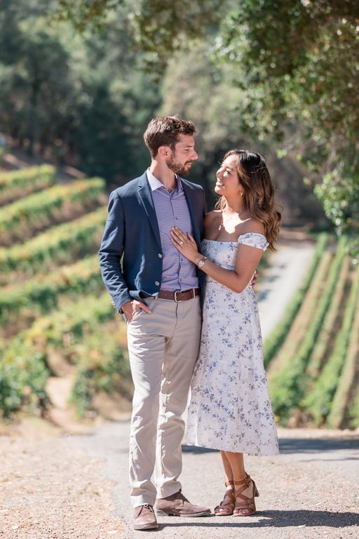 Bay Area winery engagement photo
