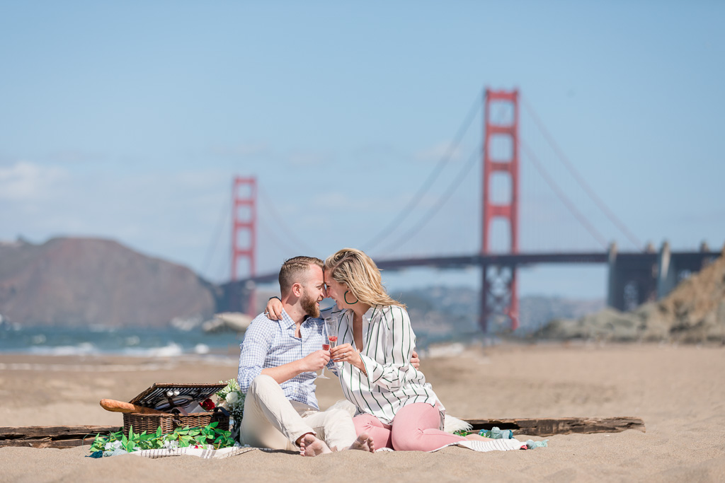 beautiful picnic engagement photo on San Francisco beach