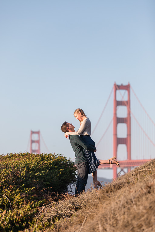 engagement photo with the iconic golden gate bridge