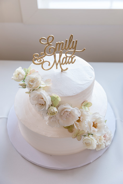 wedding cake with simple floral decor