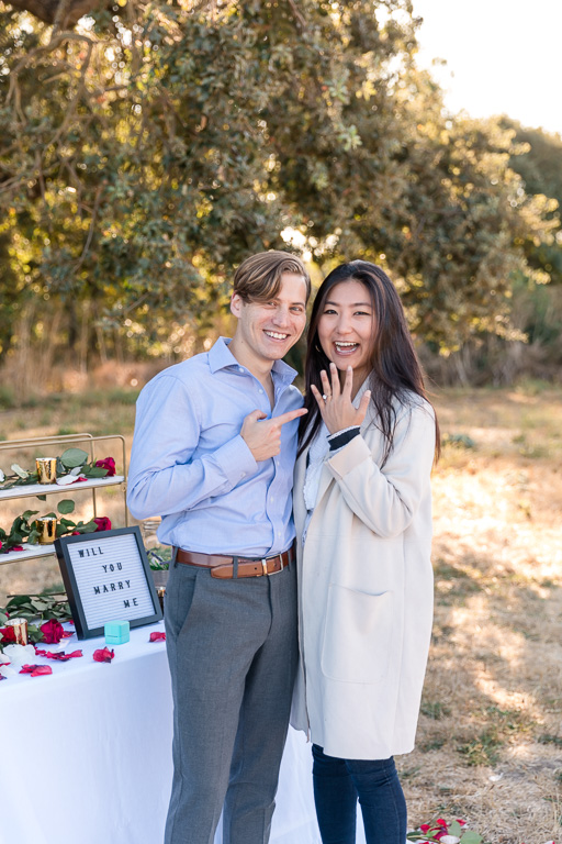 he surprised her with a Tiffany ring outside of the private plane