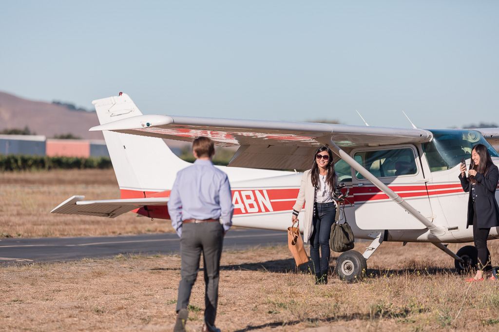 private airplane surprise proposal at Sonoma airport