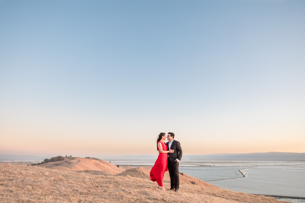 Coyote Hills Regional Park engagement photo overlooking the Bay