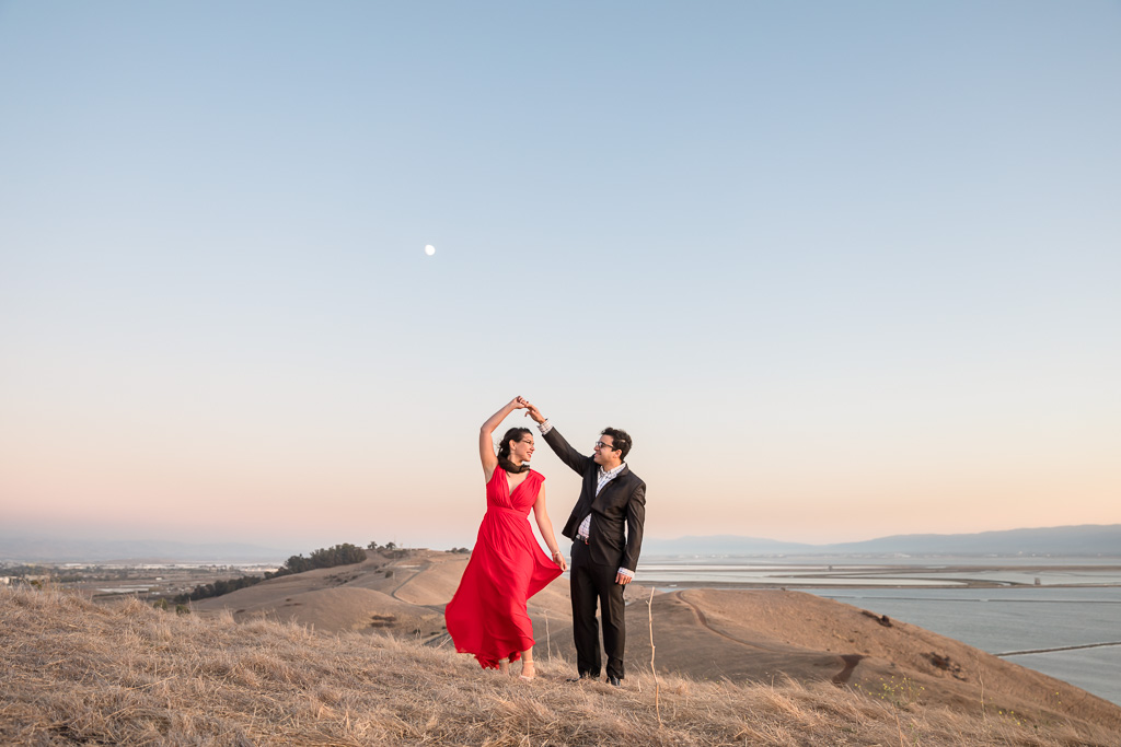 Coyote Hills Regional Park engagement photo at sunset