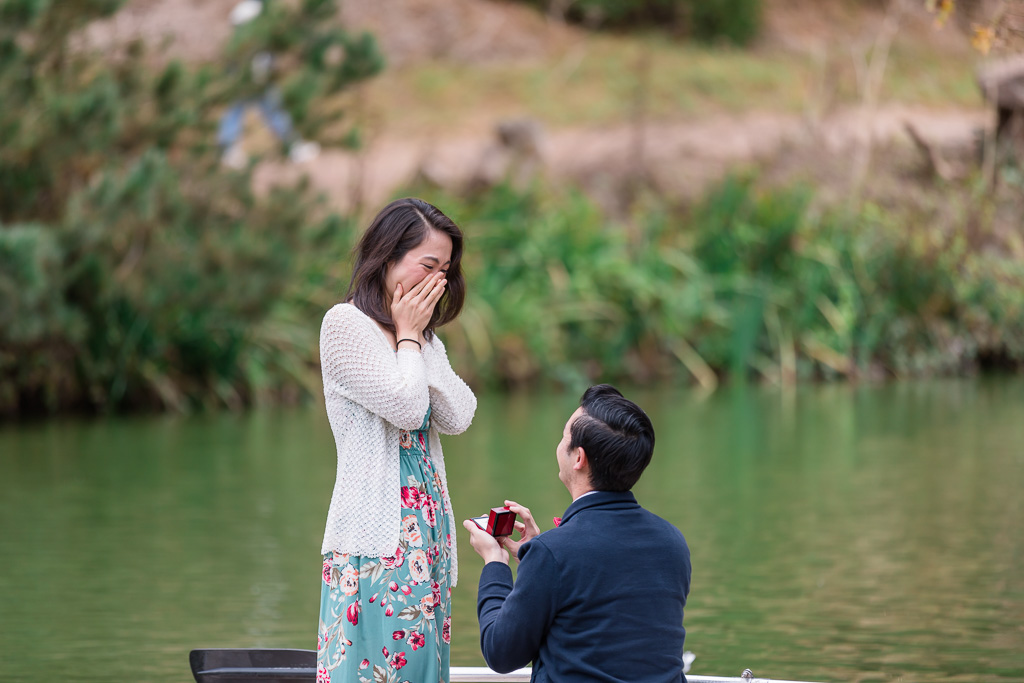 cute marriage proposal on a lake