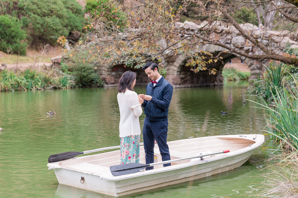 Stow Lake marriage proposal in front of the old stone bridge