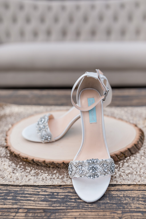 elegant wedding shoes with a little sparkle and a little blue