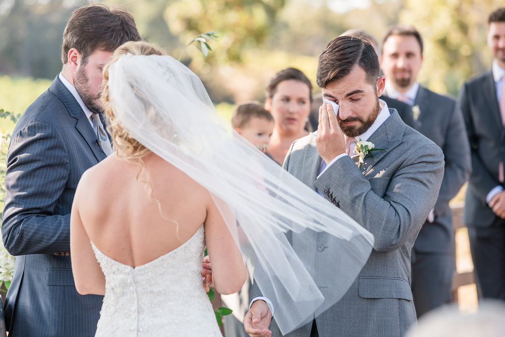 groom got very emotional at their Sonoma winery wedding