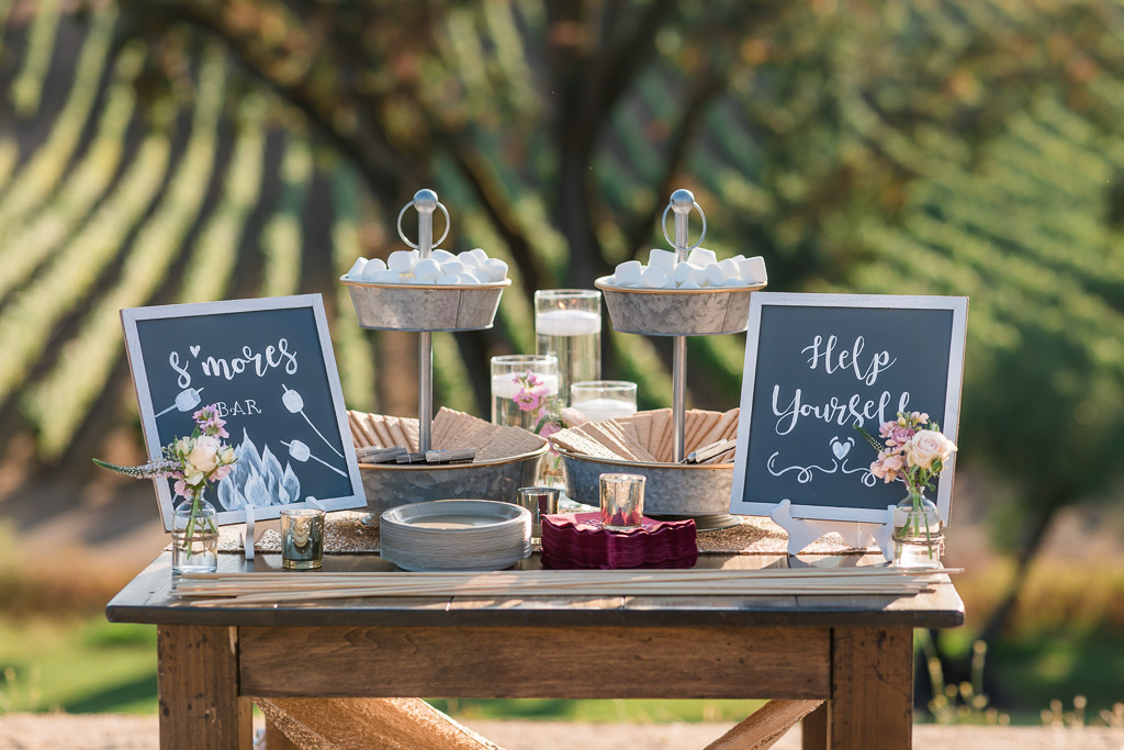 wedding s'mores station