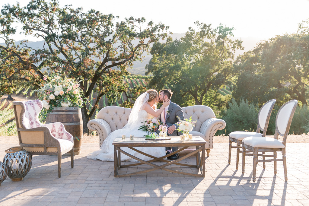 B.R. Cohn Winery wedding portrait with modern chic furniture setup