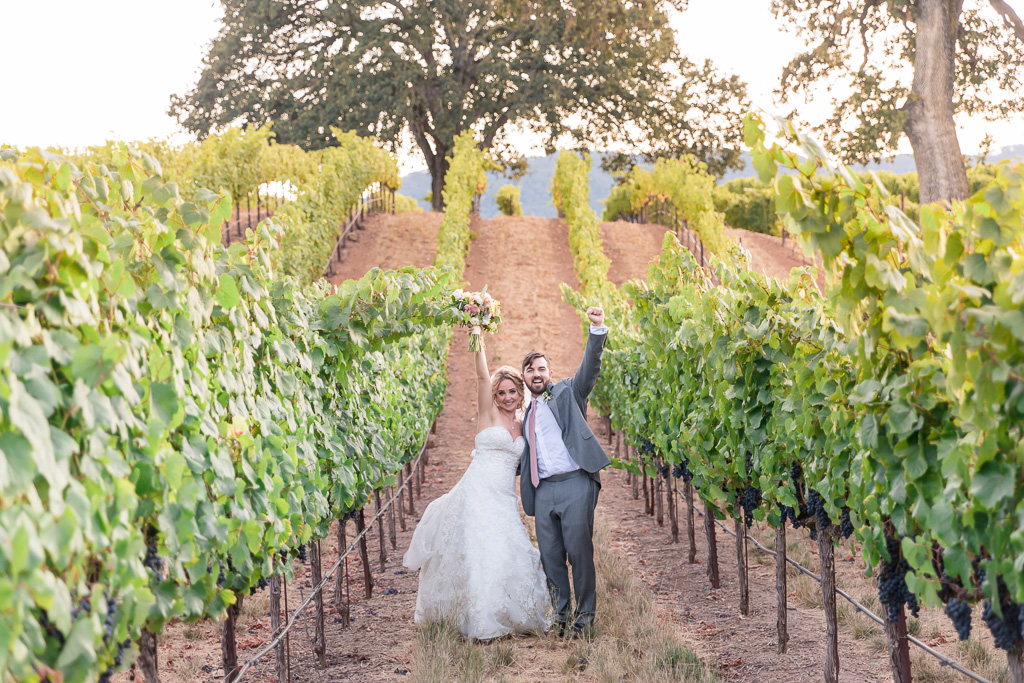 BR Cohn wedding photo in vineyards on the rolling hills