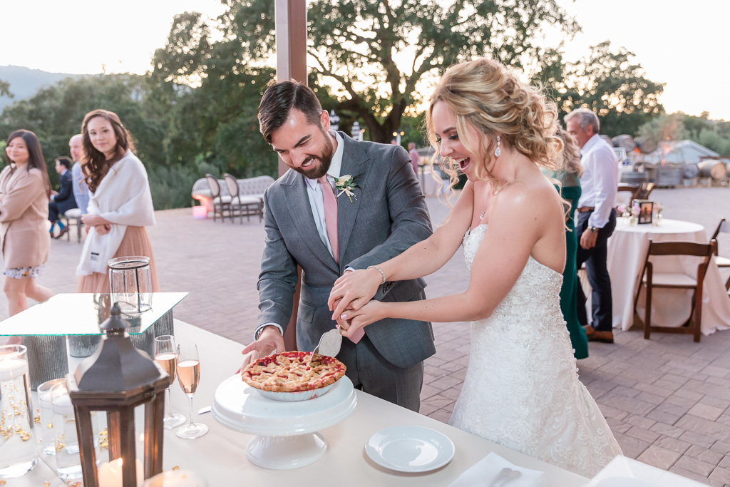 wedding pie cutting instead of a traditional cake cutting