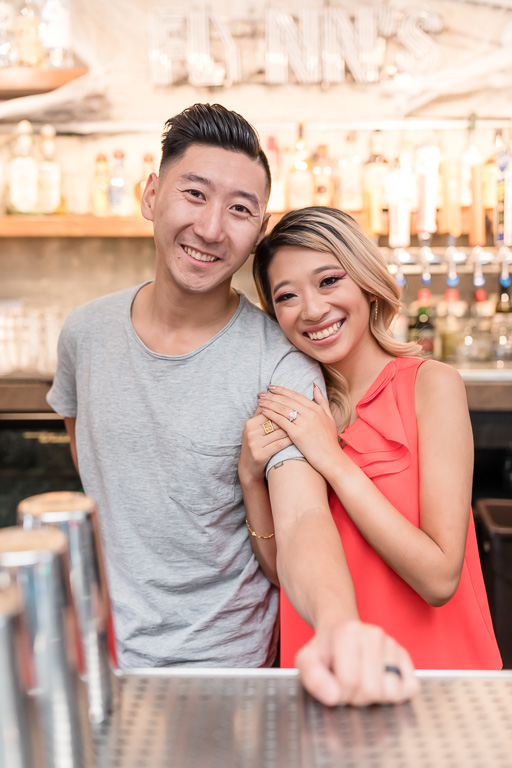 couple engagement photo at a San Francisco bar