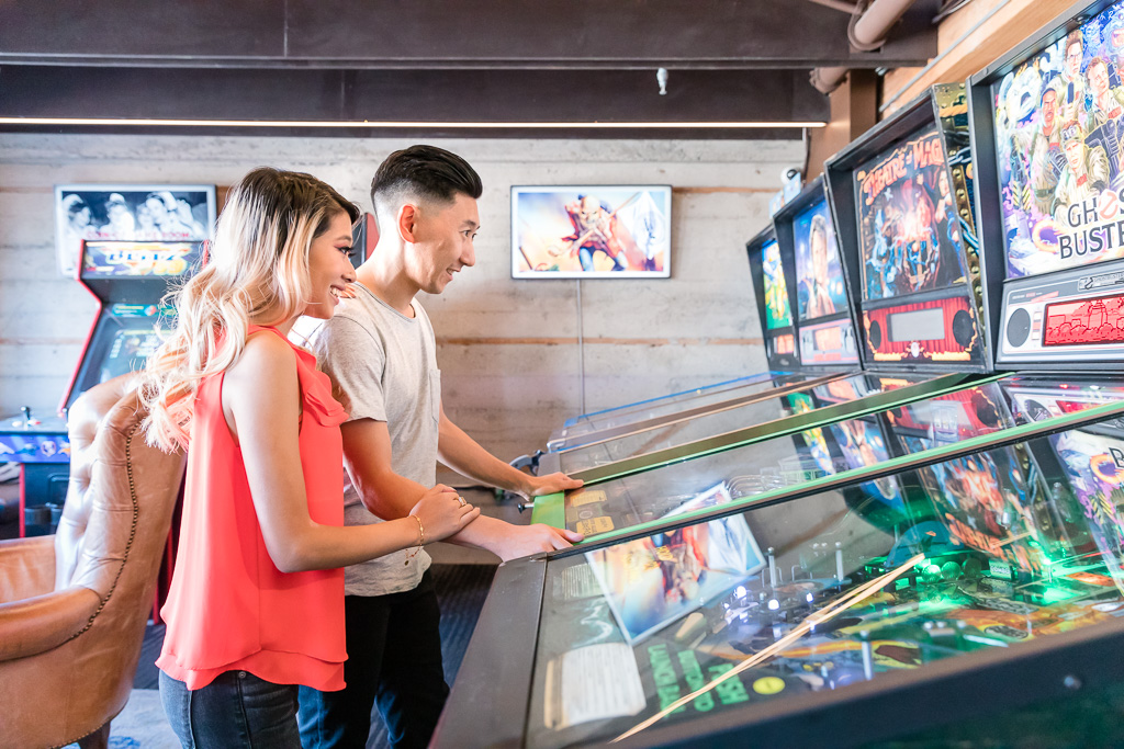 San Francisco arcade engagement photo