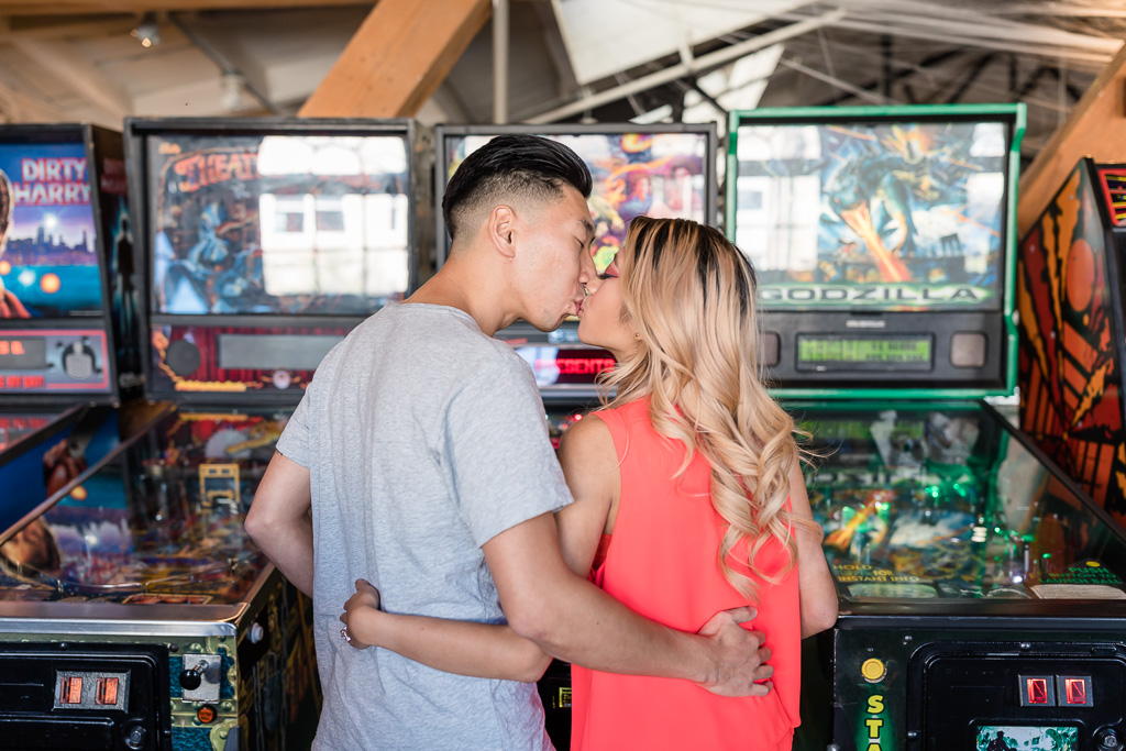 San Francisco arcade bar engagement picture