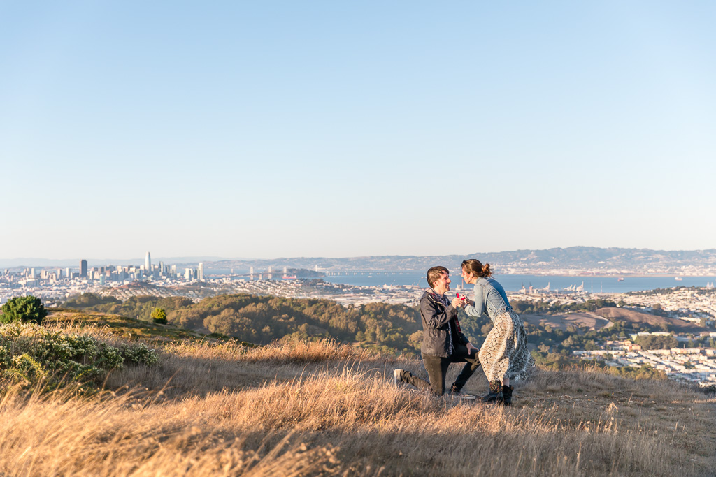 San Bruno mountain sunset proposal with a gorgeous view of the Bay Area