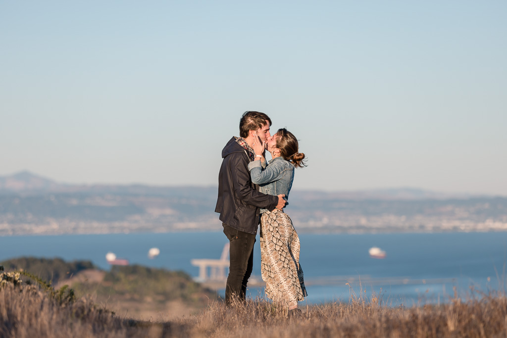 they are engaged in front of the view of the Bay