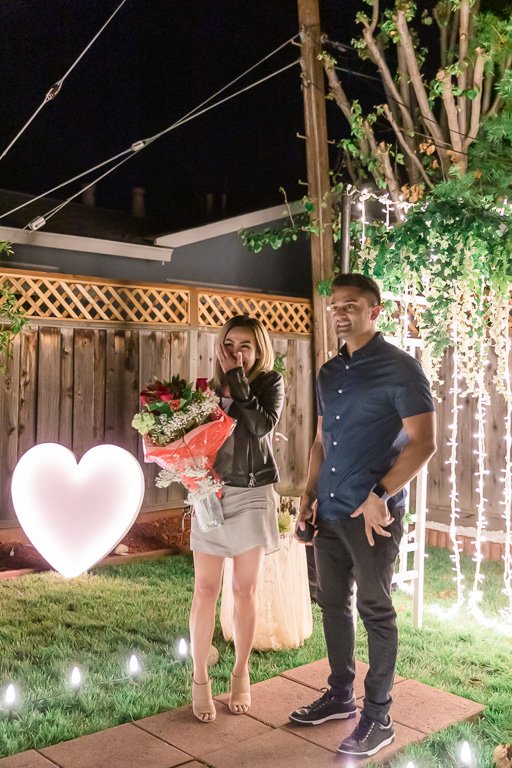 fiance and friends surprised her with a romantic proposal in their San Jose backyard