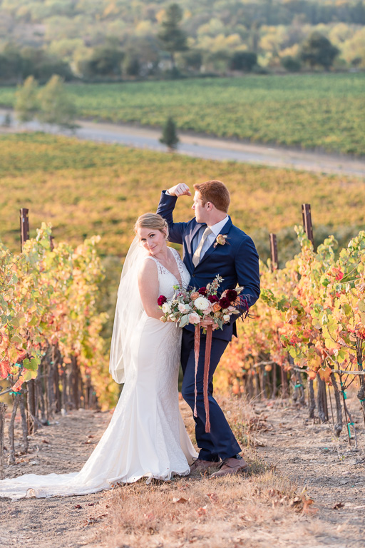 funny wedding portrait with Fall colors