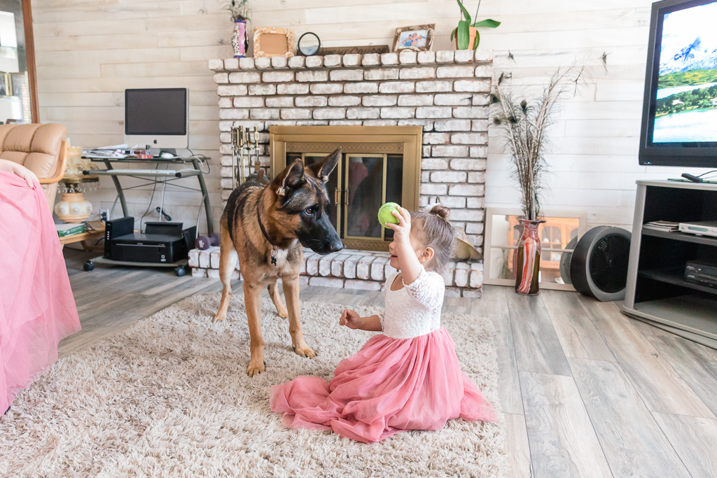 flower girl playing with the dog