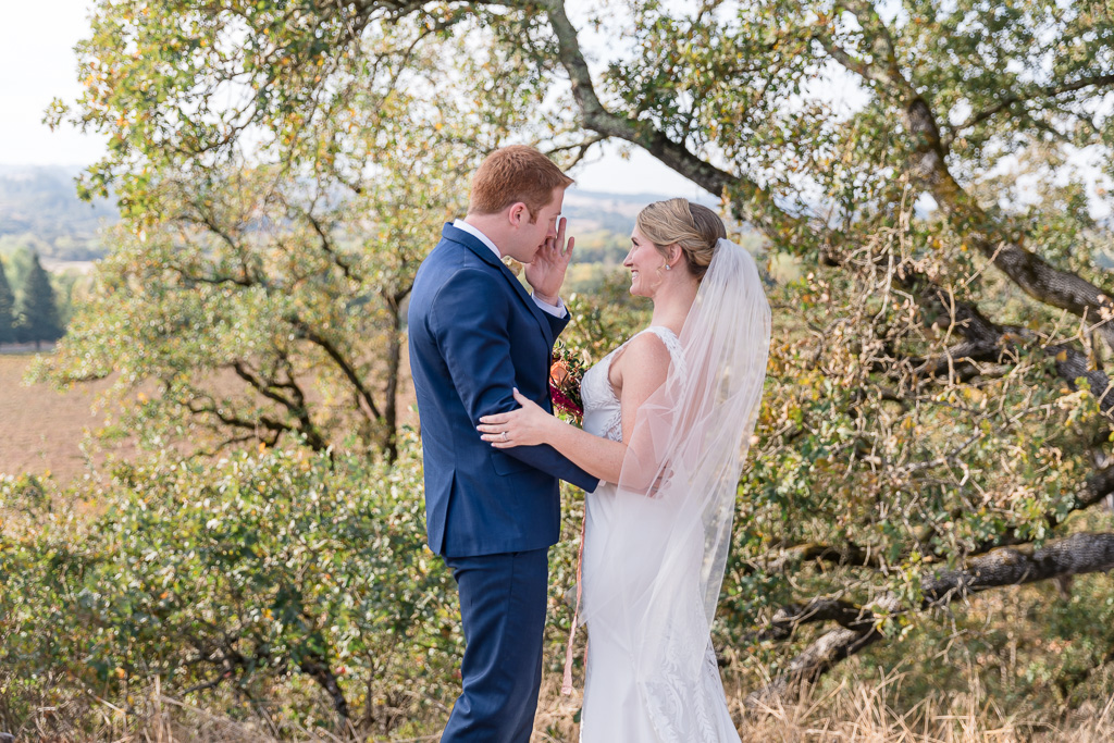 Copain Wines wedding emotional first look when the groom shed a tear