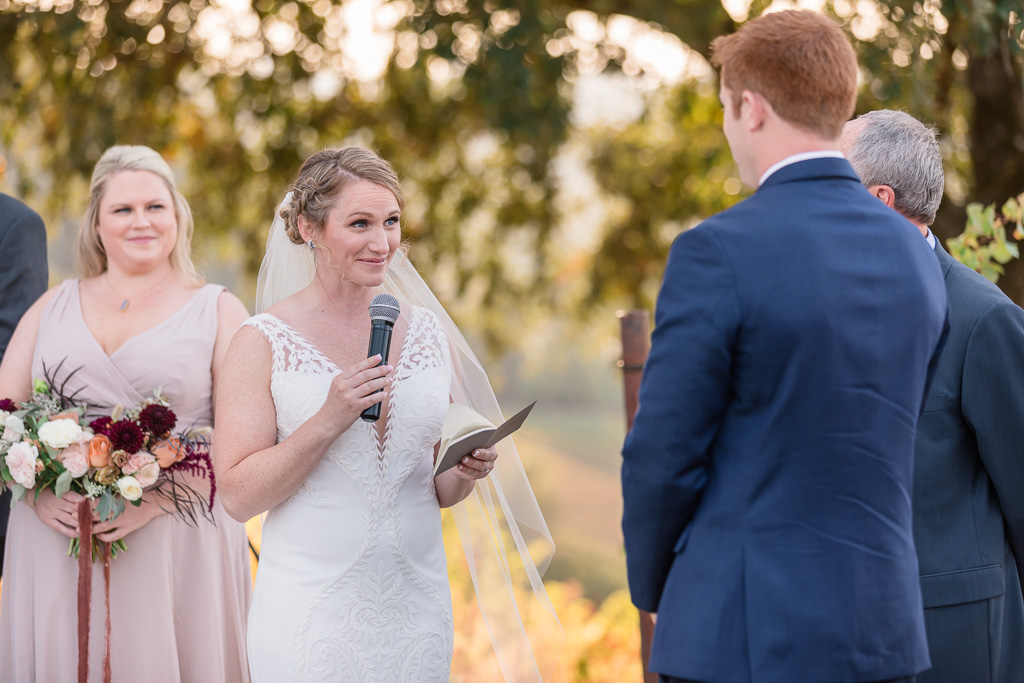 bride reading her personal vows