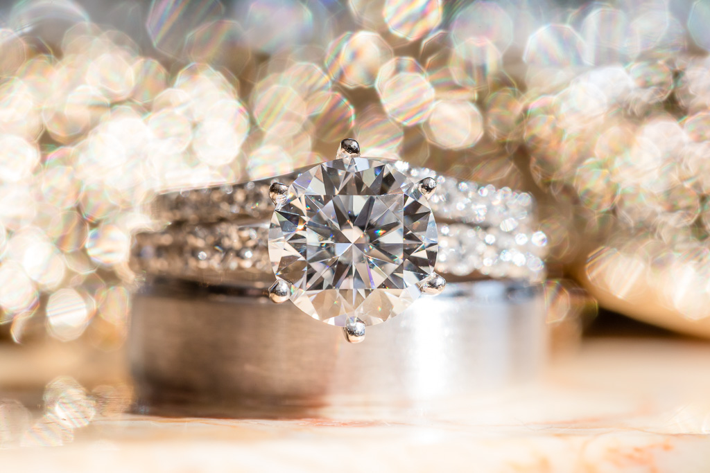 gorgeous wedding ring shot with bokeh