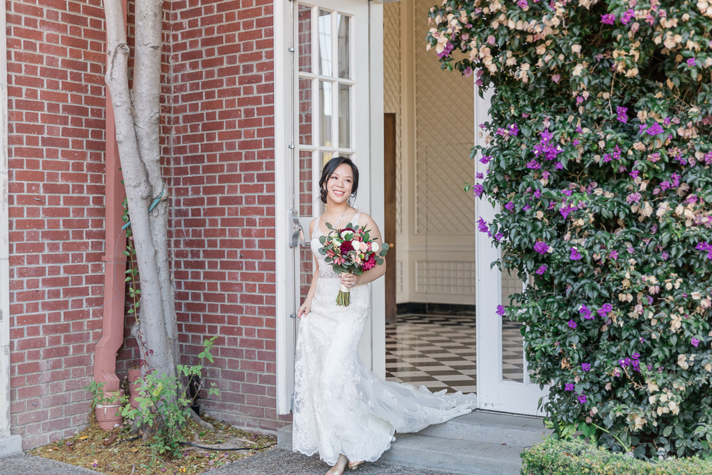 bride walked out of the door for their first look