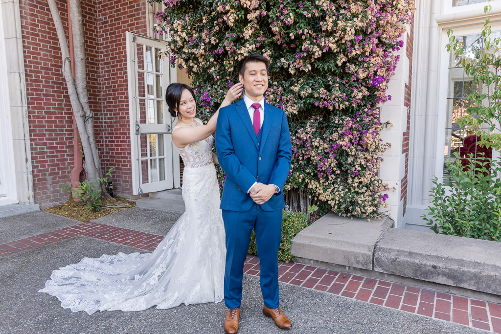 a cute wedding first look outside of the Bay Area mansion