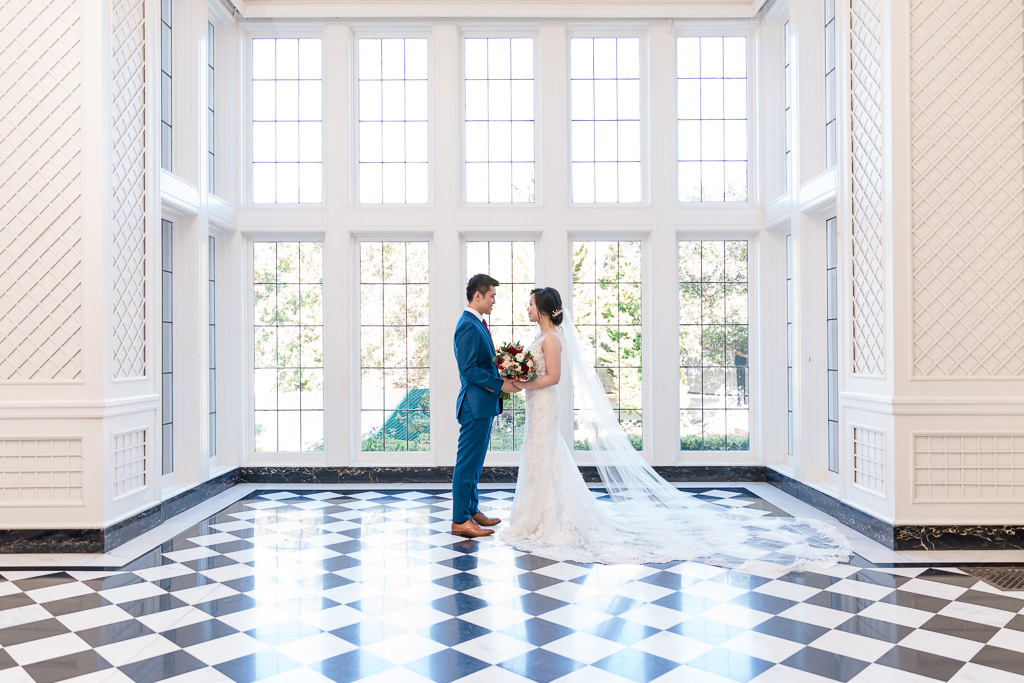Kohl Mansion wedding portrait in the checkered room