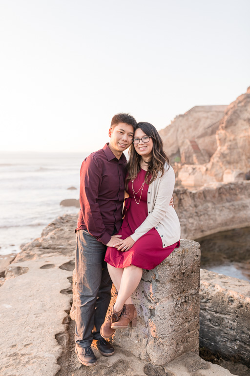 outdoor sunset engagement photo in the nature