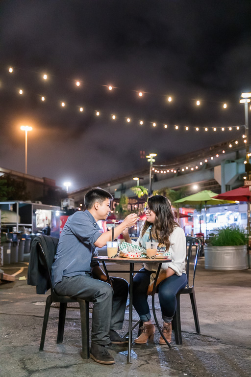 food truck park engagement picture at night