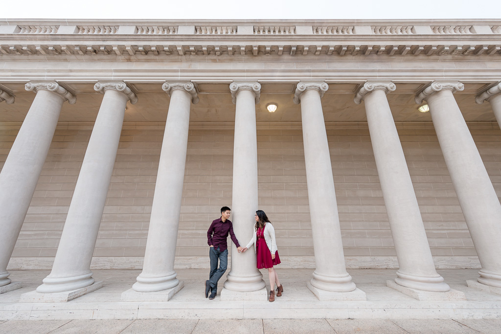 engagement photo with grand architecture